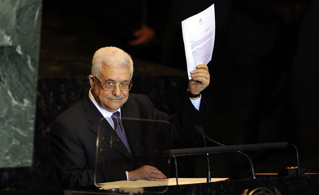President Abbas holds Palestine's Application for UN Membership during his Statement during the 66th General Debate