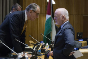 DSG (left) and PGA (right) prior to the meeting. Committee on the Exercise of the Inalienable Rights of the Palestinian People Special meeting in observance of the International Day of Solidarity with the Palestinian People, in accordance with General Assembly resolution 32/40 B of 2 December 1977