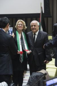 H.E. Mr. Riyad Mansour - Permanent Observer of the State of Palestine, with participant prior to the meeting. Committee on the Exercise of the Inalienable Rights of the Palestinian People Special meeting in observance of the International Day of Solidarity with the Palestinian People, in accordance with General Assembly resolution 32/40 B of 2 December 1977